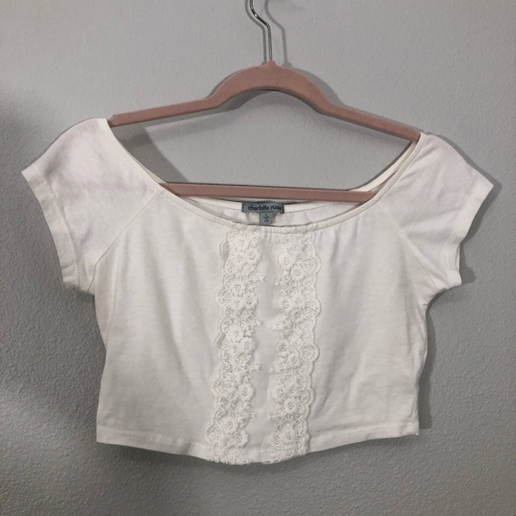 0c7f7cbac26 Charlotte Russe Tops | Embroidered Floral White Crop Top | Poshmark